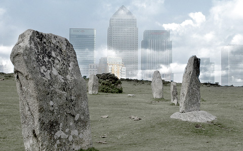 stone circle in surreal setting